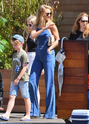 Rosie Huntington Whiteley in Jeans at Soho House in Malibu