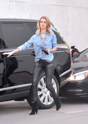 Rosie Huntington Whiteley in Leather out in Beverly Hills