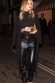 Rosie Huntington Whiteley in Leather Pants at the Lore of the Land pub in London