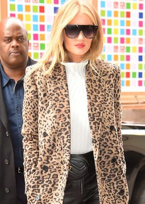Rosie Huntington Whiteley in Leopard Print Coat out in SoHo