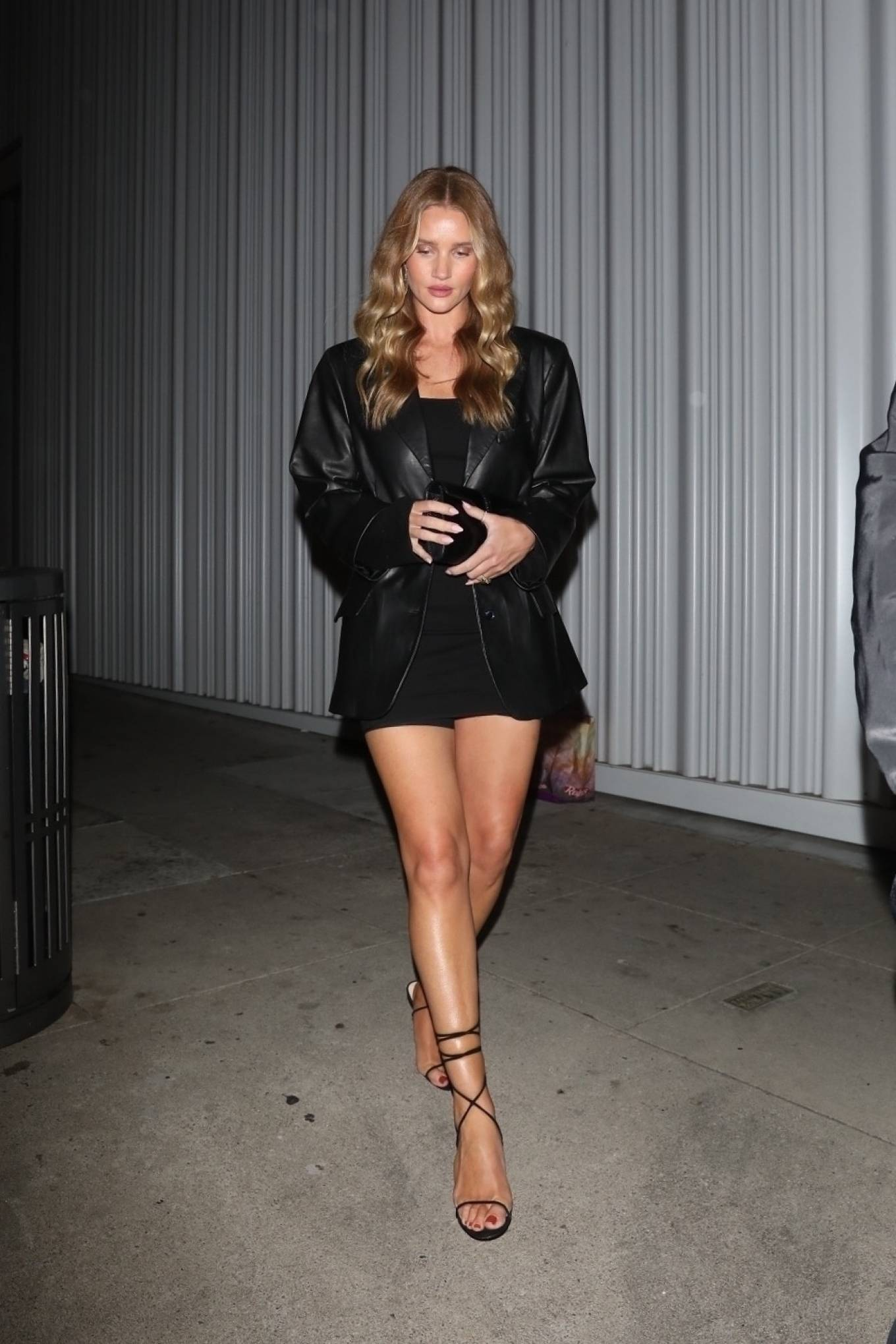 Rosie Huntington-Whiteley - In mini black dress Exits a Birthday celebration at Mr Chow in LA