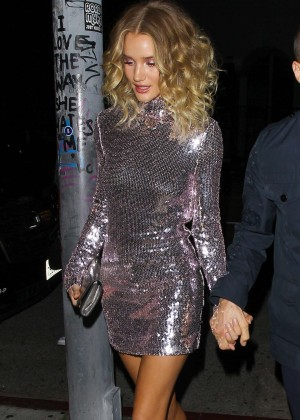 Rosie Huntington Whiteley in Mini Dress at Nice Guy in West Hollywood