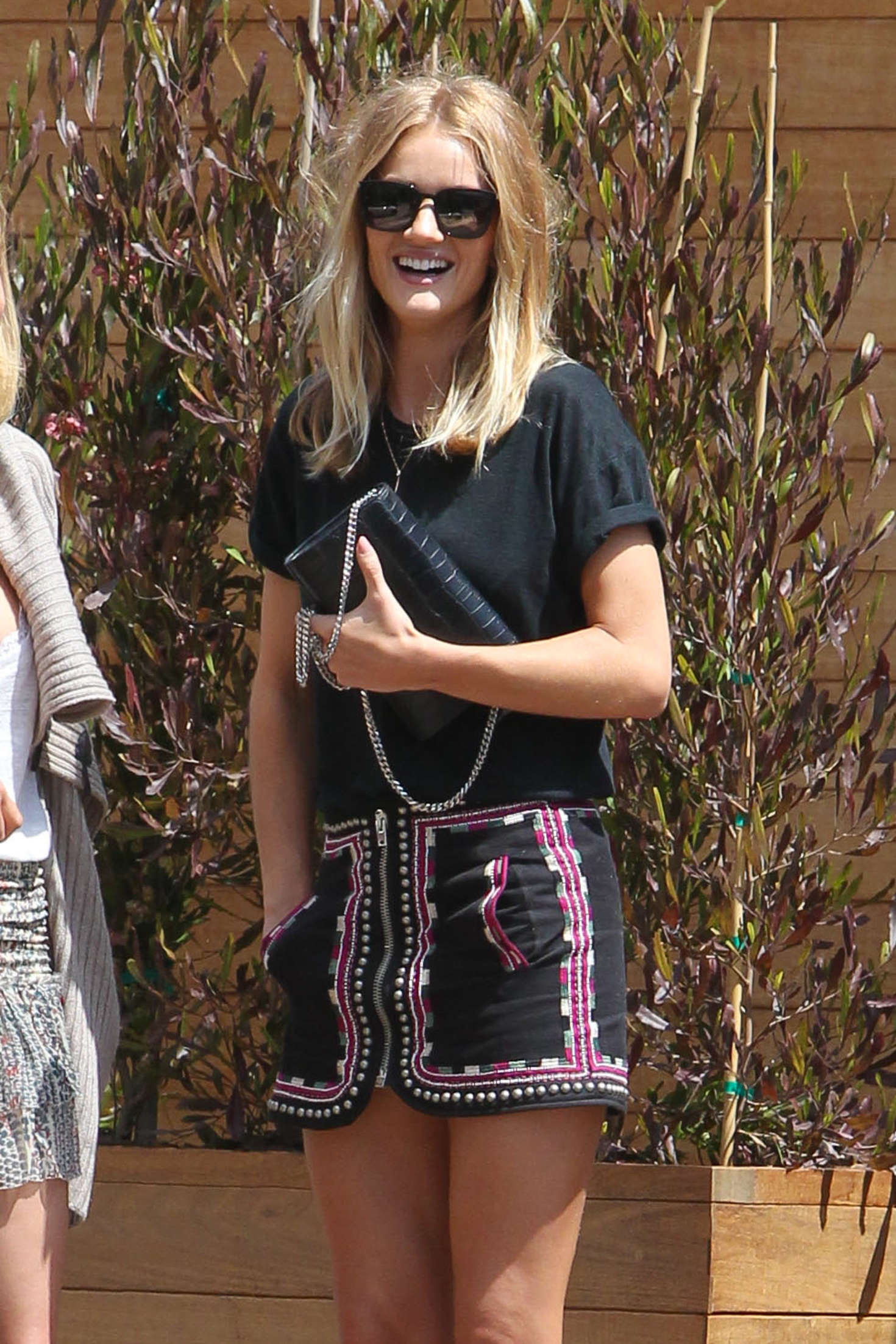 Rosie Huntington Whiteley In Mini Skirt At Soho House In