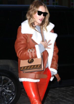 Rosie Huntington Whiteley in Orange Leather Pants - Leaves the Crosby Hotel in NY