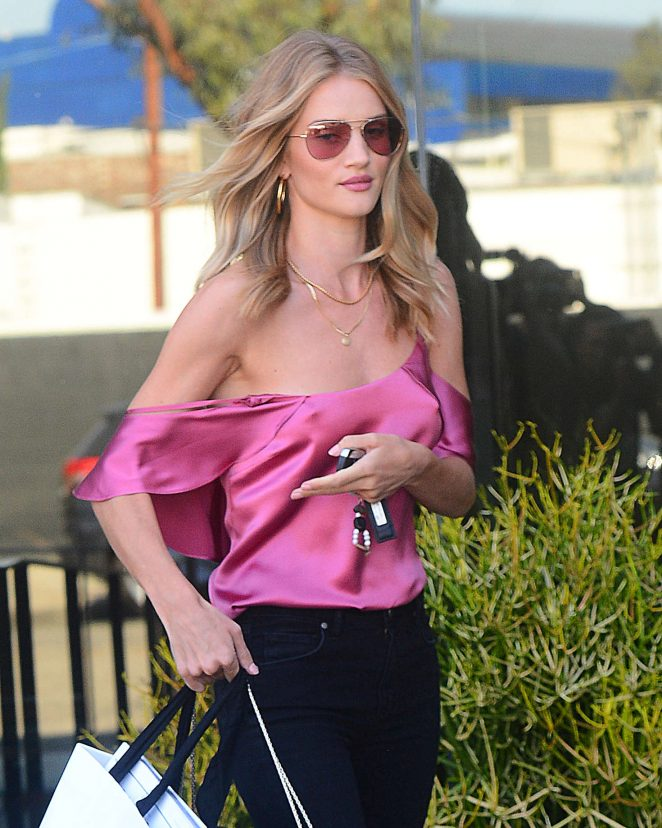 Rosie Huntington Whiteley in Pink Shirt Out in West Hollywood