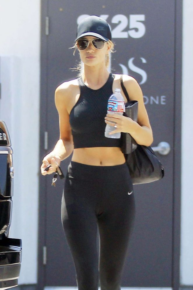 Rosie Huntington Whiteley in Tights and Sports Bra out in Los Angeles