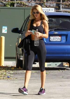 Rosie Huntington Whiteley in Tights Leaving the gym in LA