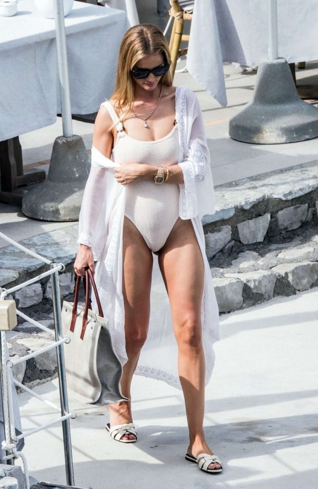 Rosie Huntington Whiteley in White Swimsuit on holiday in Capri