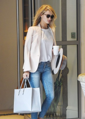 Rosie Huntington Whiteley in Jeans Leaving her hotel in London