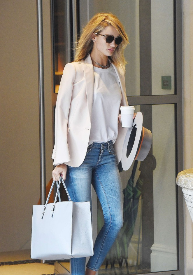 Rosie Huntington Whiteley in Jeans Leaving her hotel in London