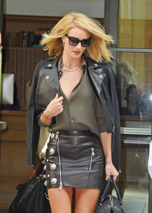 Rosie Huntington Whiteley in Leather Mini Skirt out in NYC