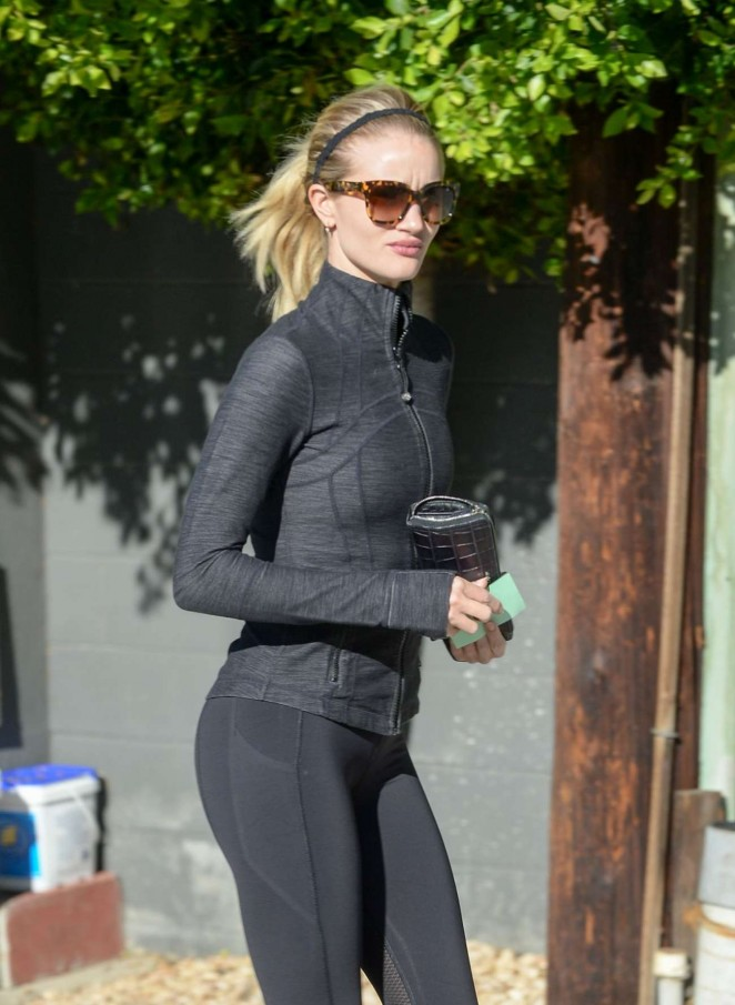 Rosie Huntington Whiteley in Tights Leaving the gym in West Hollywood