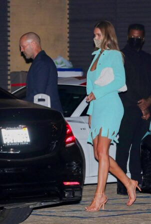 Rosie Huntington-Whiteley - Night out in a light blue outfit with Jason Statham at Nobu in Malibu