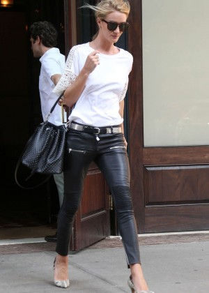 Rosie Huntington Whiteley in Leather Pants Out in NYC