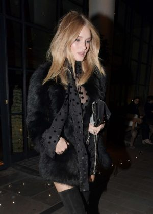 Rosie Huntington Whiteley out for dinner at LouLou's in London