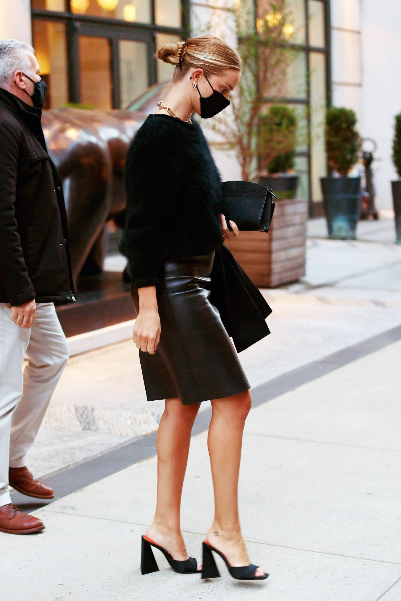 Rosie Huntington-Whiteley - Out in a black leather skirt in New York