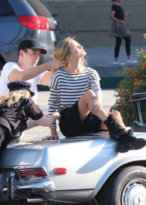 Rosie Huntington Whiteley poses for the camera in Los Angeles