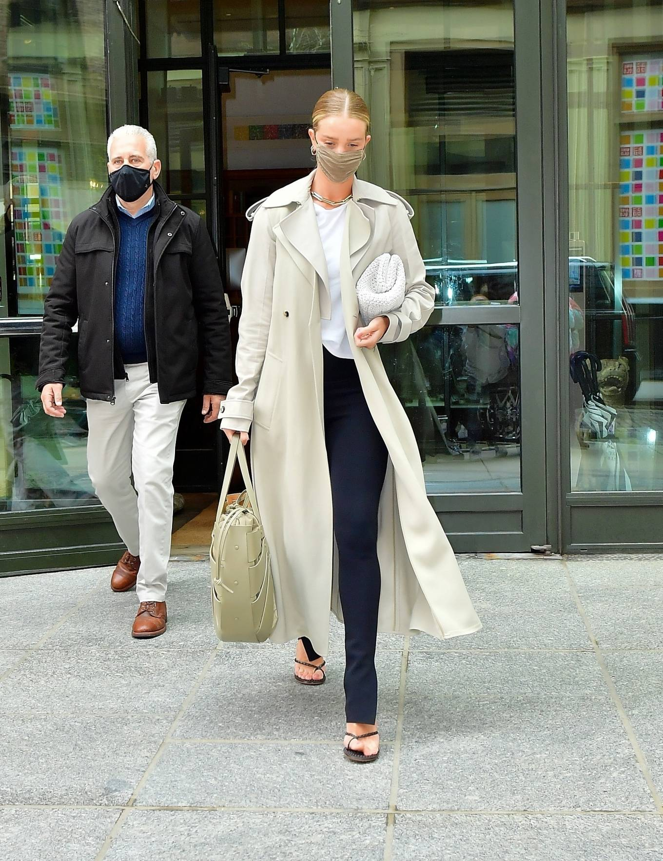 Rosie Huntington-Whiteley - Rocking a fashionable trench coat in New York