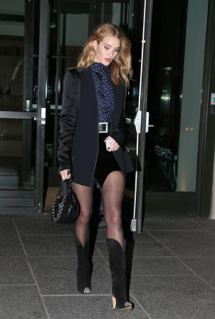 Rosie Huntington-Whiteley - Wearing cowboy boots and a mini skirt in New York City