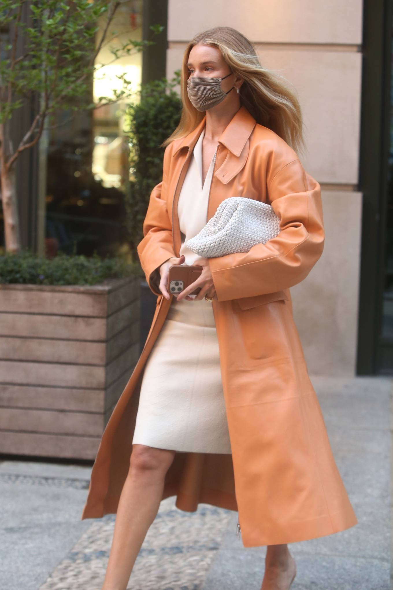 Rosie Huntington-Whiteley 2021 : Rosie Huntington-Whiteley – With a coral-hued trench coat in New York-01