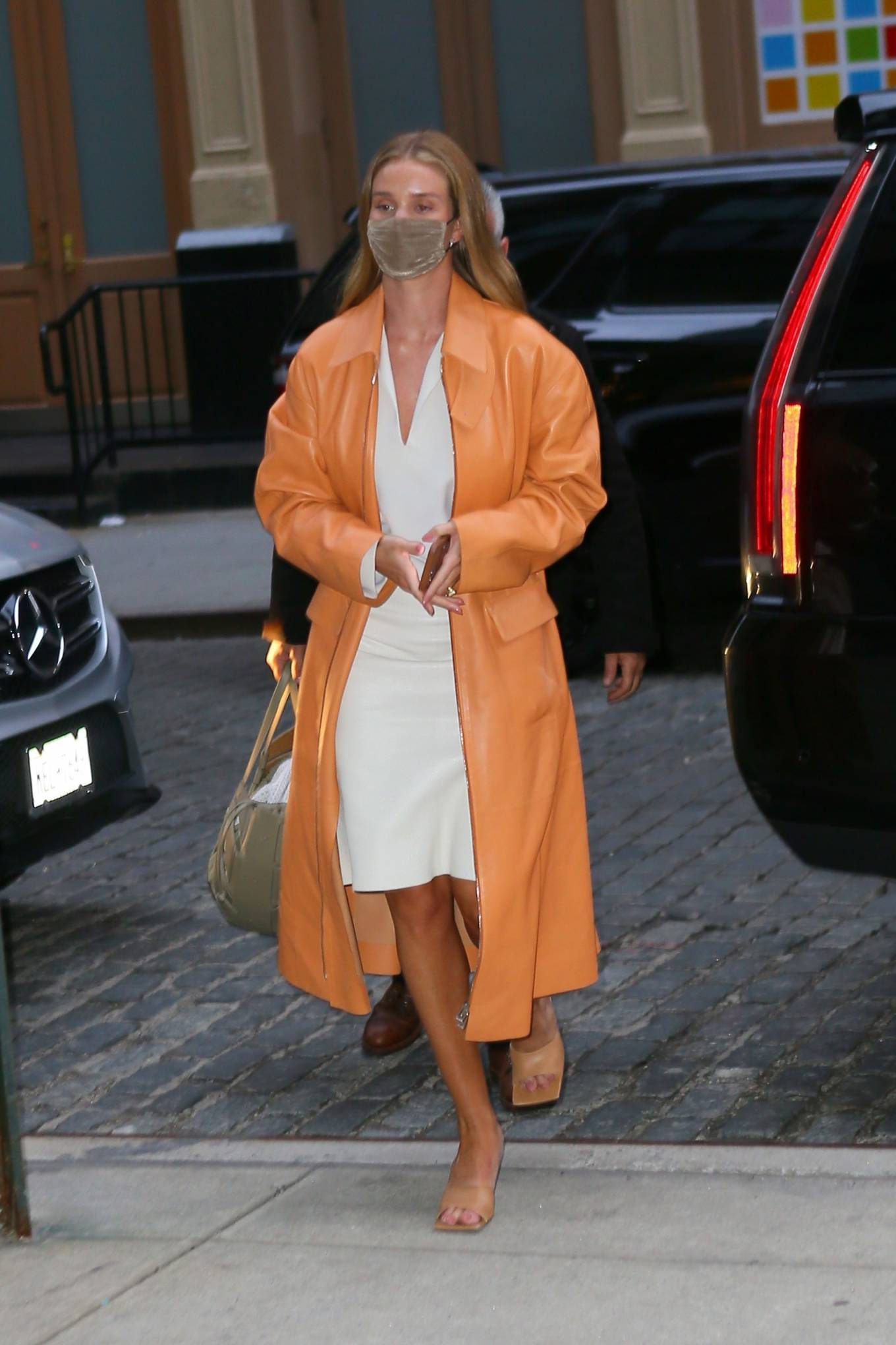 Rosie Huntington-Whiteley 2021 : Rosie Huntington-Whiteley – With a coral-hued trench coat in New York-02
