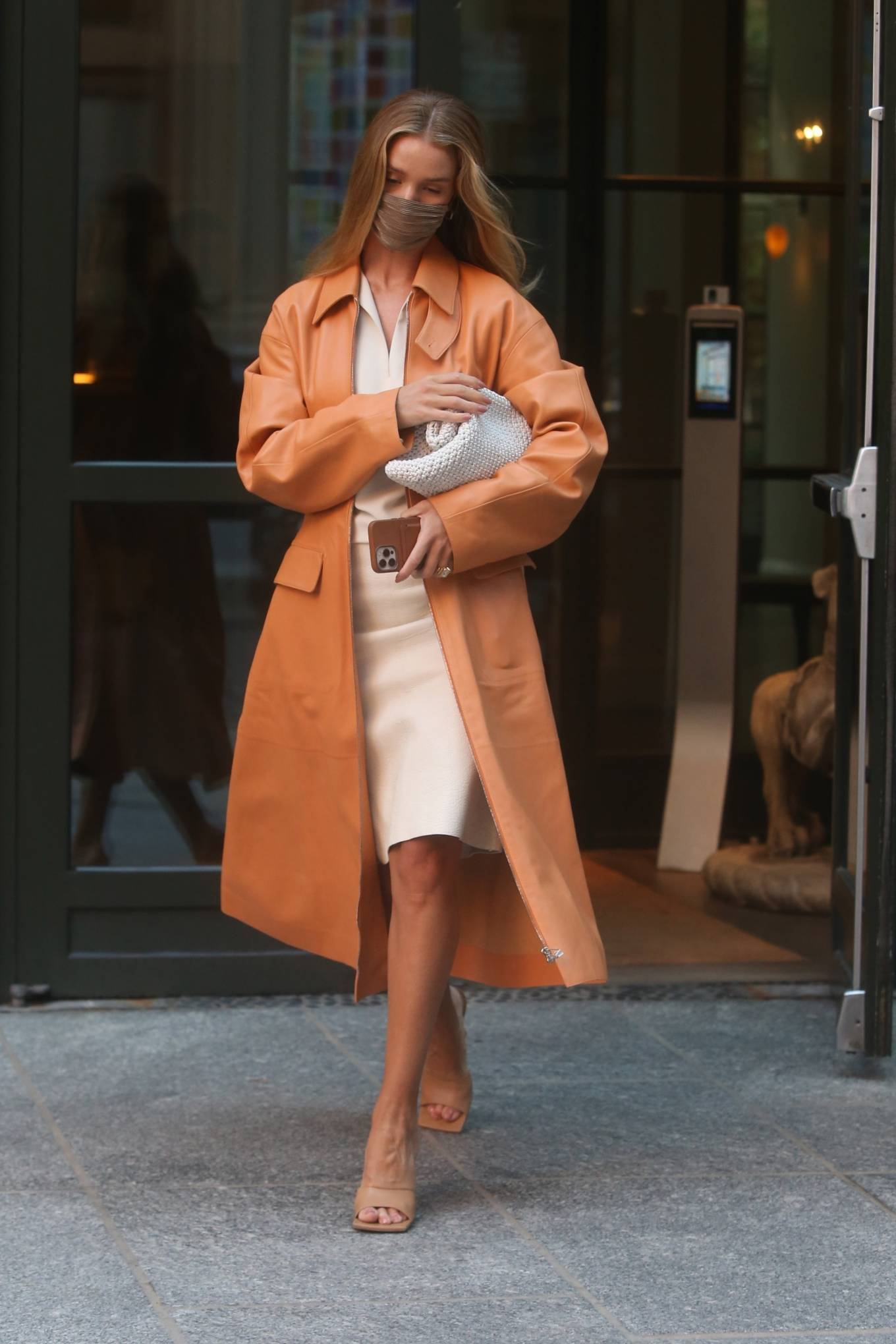 Rosie Huntington-Whiteley 2021 : Rosie Huntington-Whiteley – With a coral-hued trench coat in New York-03