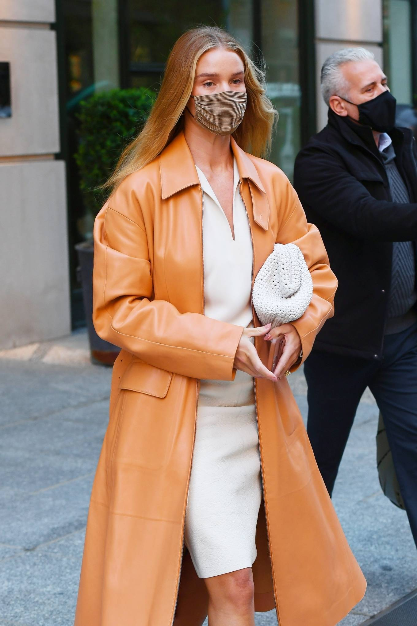 Rosie Huntington-Whiteley 2021 : Rosie Huntington-Whiteley – With a coral-hued trench coat in New York-05