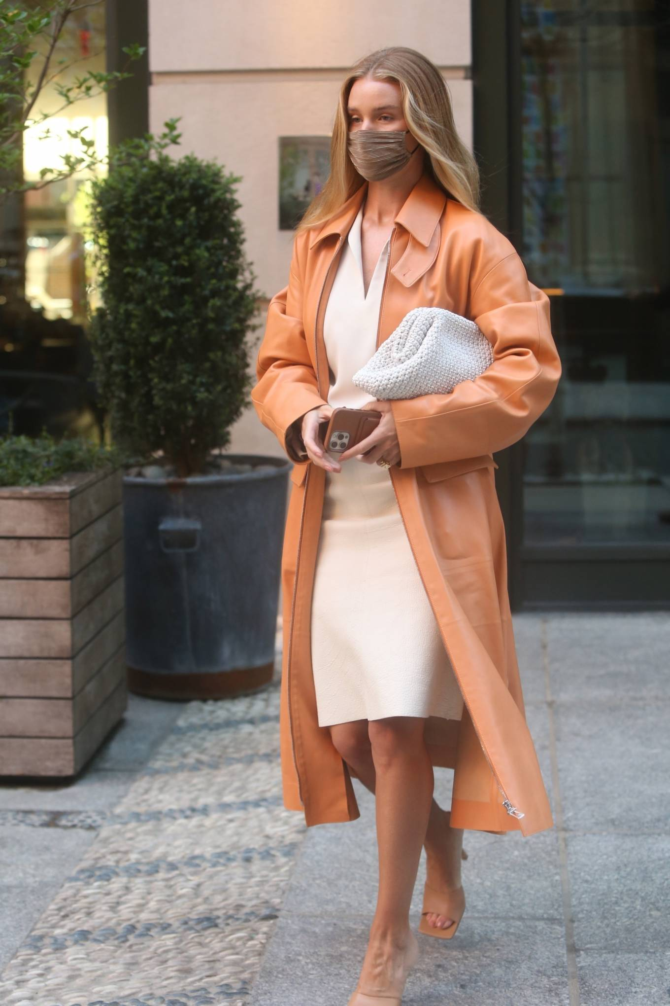 Rosie Huntington-Whiteley 2021 : Rosie Huntington-Whiteley – With a coral-hued trench coat in New York-11