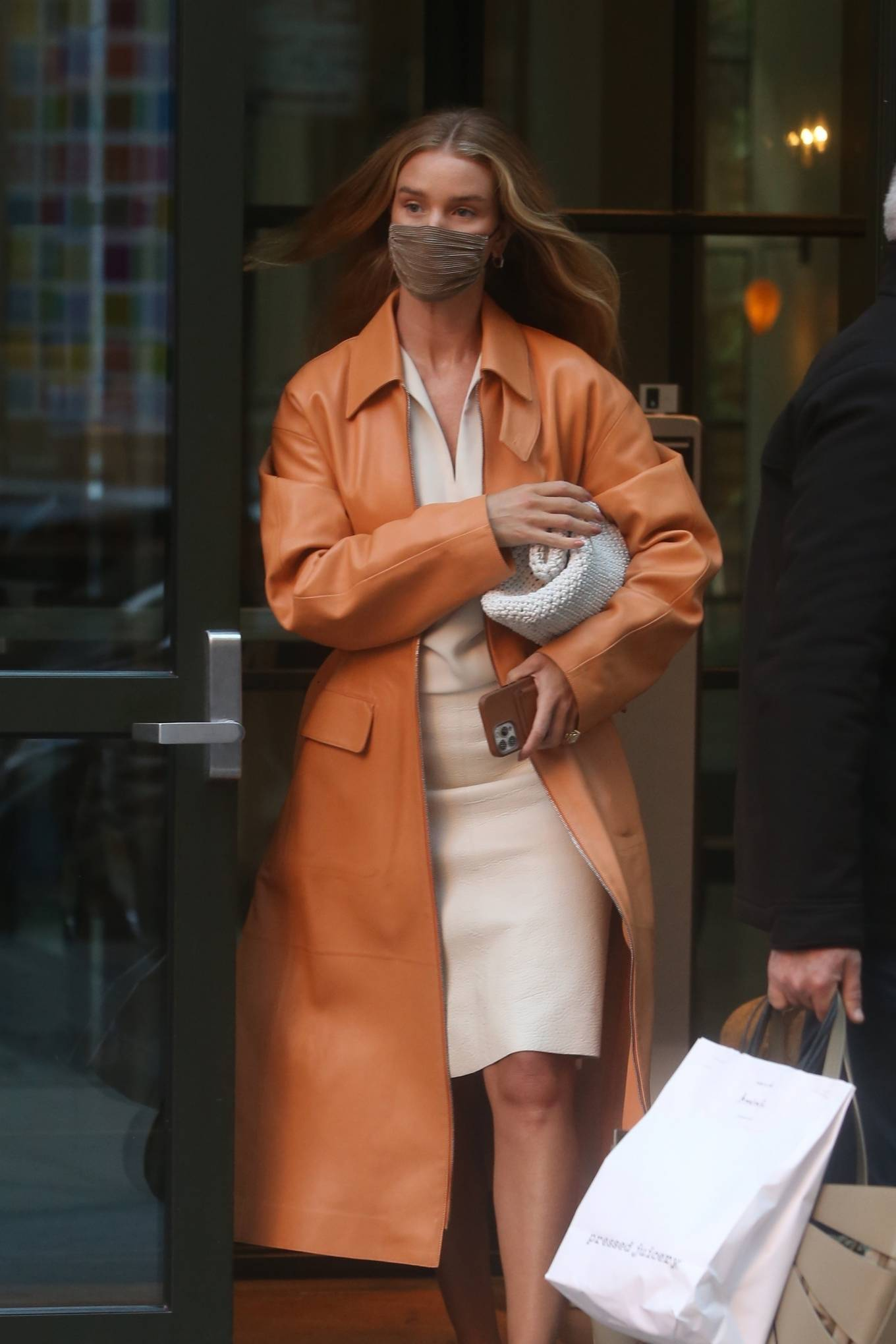 Rosie Huntington-Whiteley 2021 : Rosie Huntington-Whiteley – With a coral-hued trench coat in New York-12