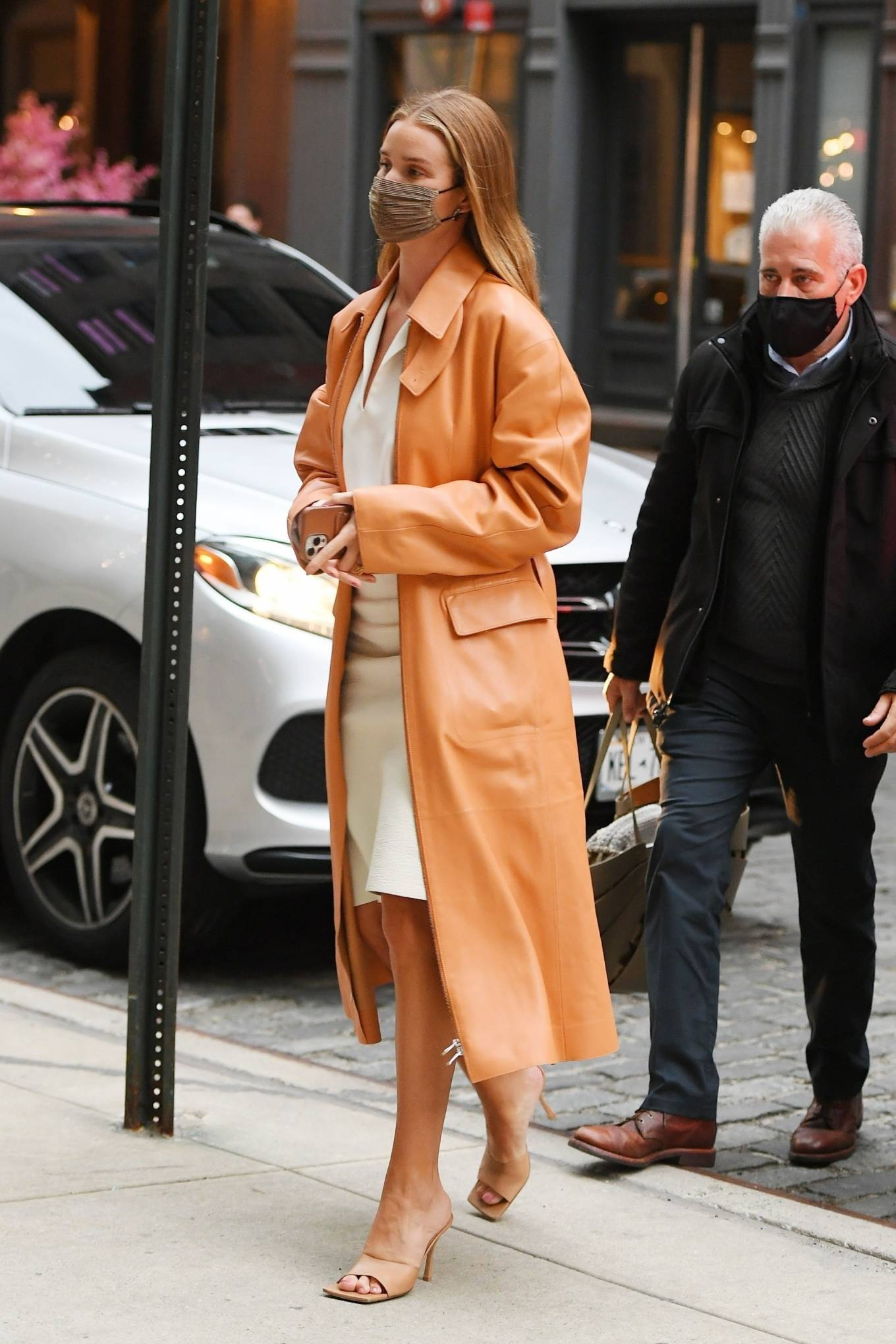 Rosie Huntington-Whiteley 2021 : Rosie Huntington-Whiteley – With a coral-hued trench coat in New York-13