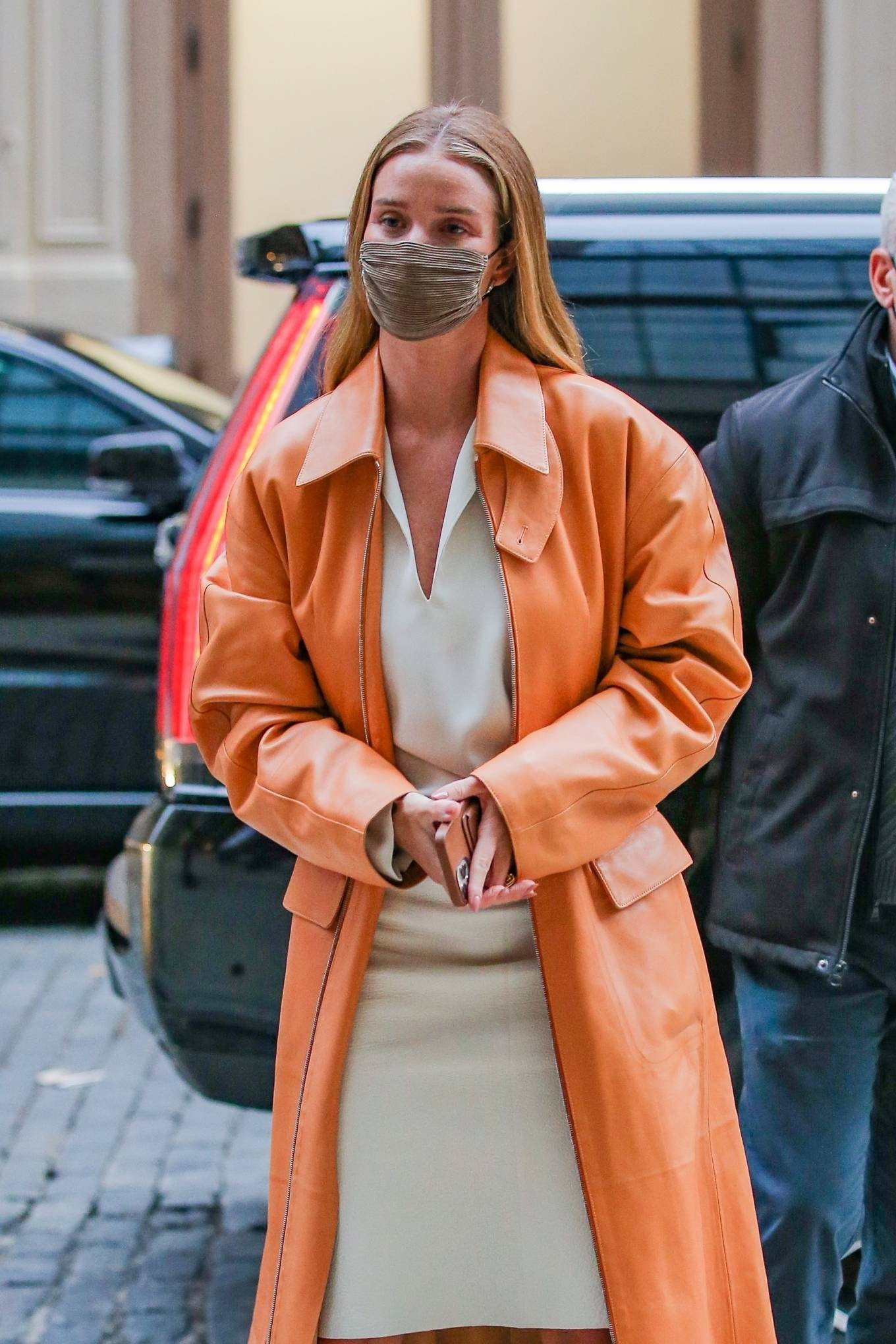 Rosie Huntington-Whiteley 2021 : Rosie Huntington-Whiteley – With a coral-hued trench coat in New York-15