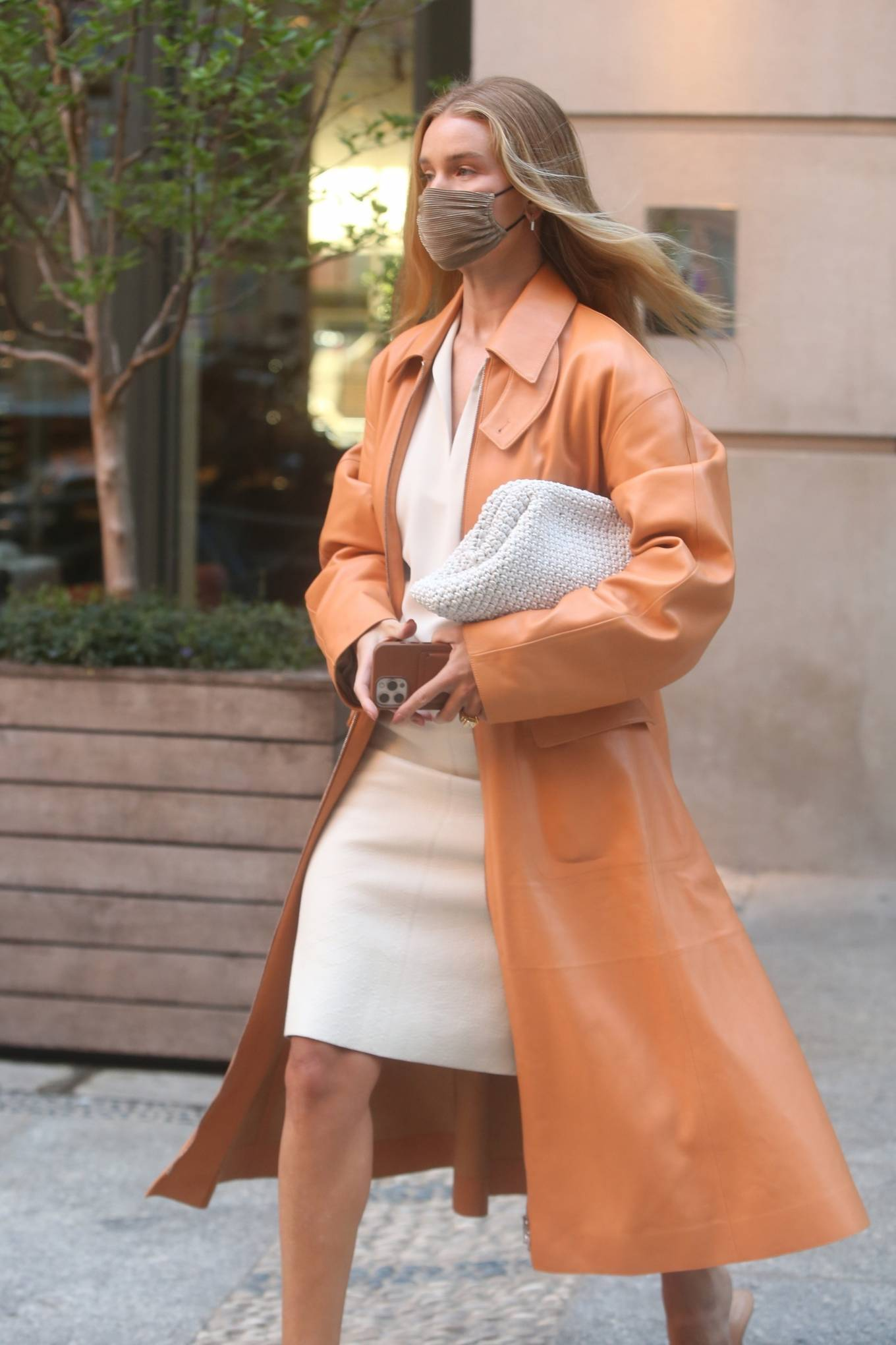 Rosie Huntington-Whiteley 2021 : Rosie Huntington-Whiteley – With a coral-hued trench coat in New York-17