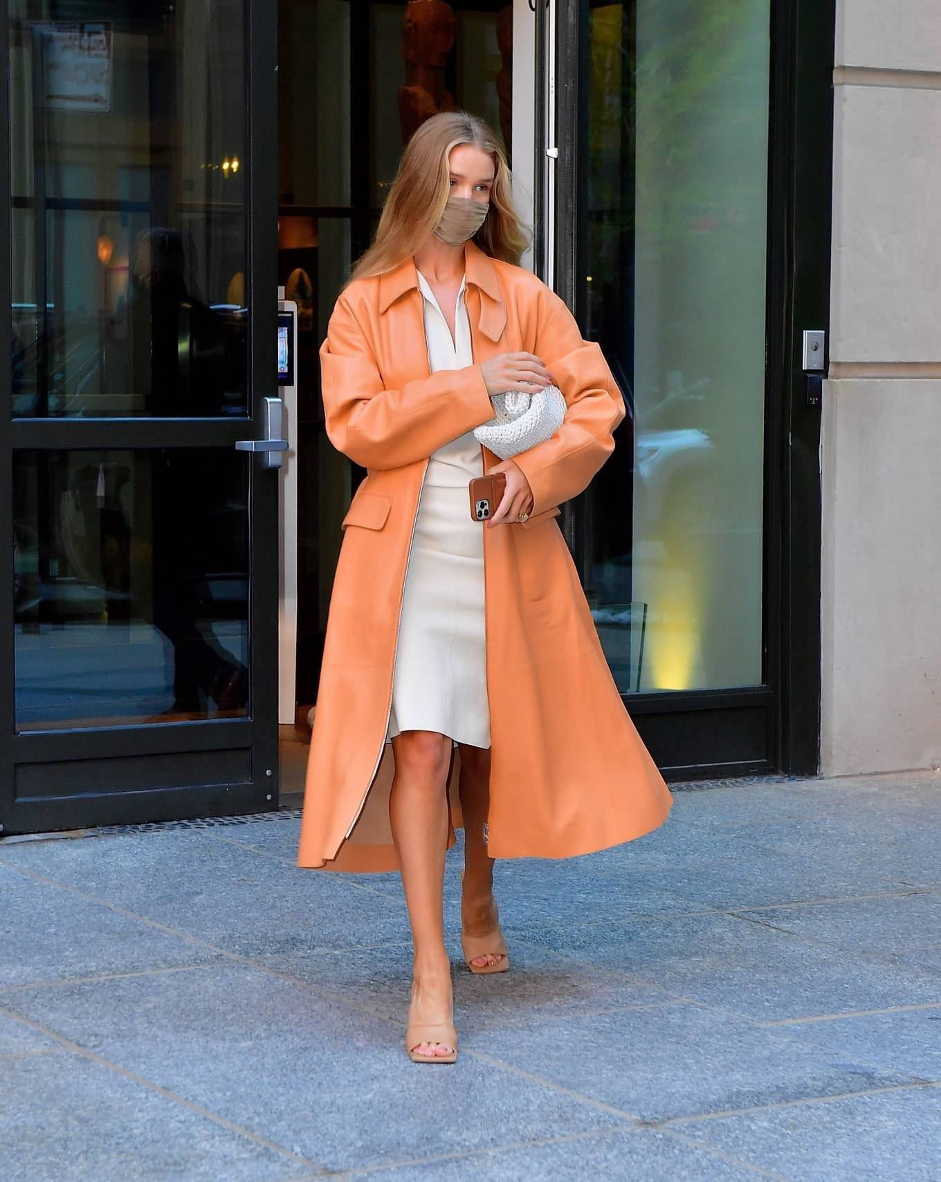 Rosie Huntington-Whiteley 2021 : Rosie Huntington-Whiteley – With a coral-hued trench coat in New York-18