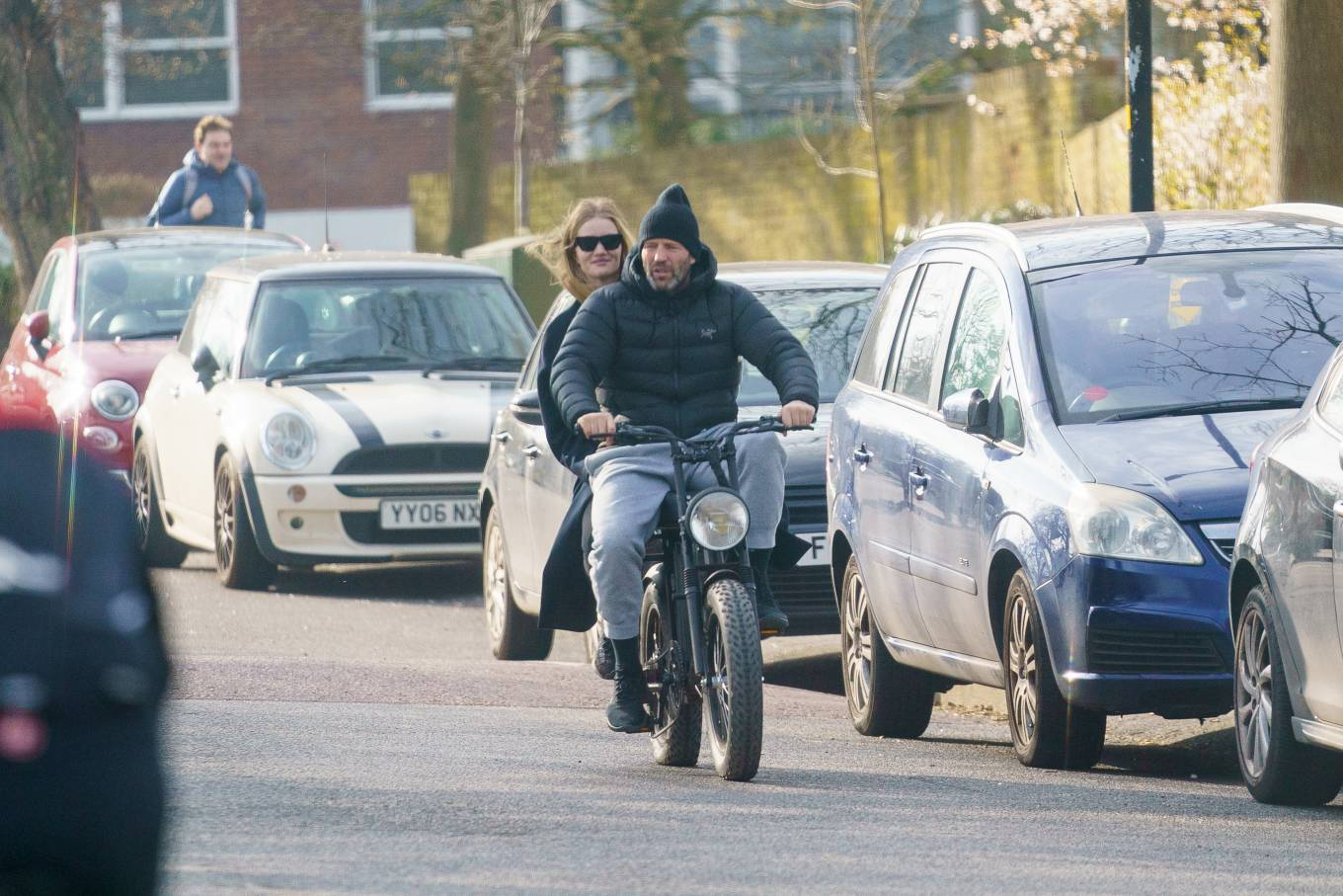 Rosie Huntington-Whiteley 2021 : Rosie Huntington-Whiteley – With Jason Statham ride electric bike in London-04