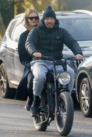 Rosie Huntington-Whiteley - With Jason Statham ride electric bike in London
