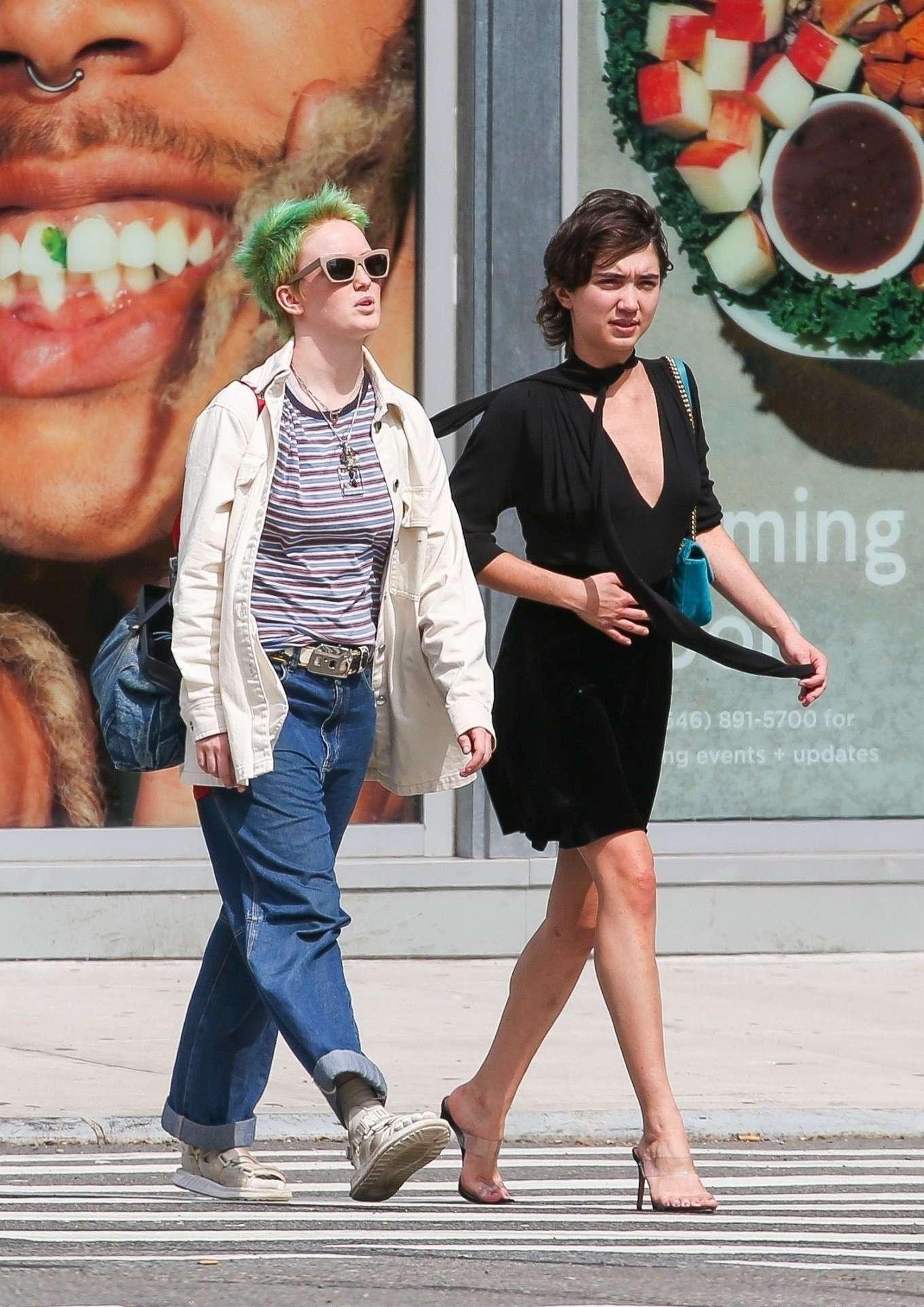 Rowan Blanchard in Black Dress - Out in NYC