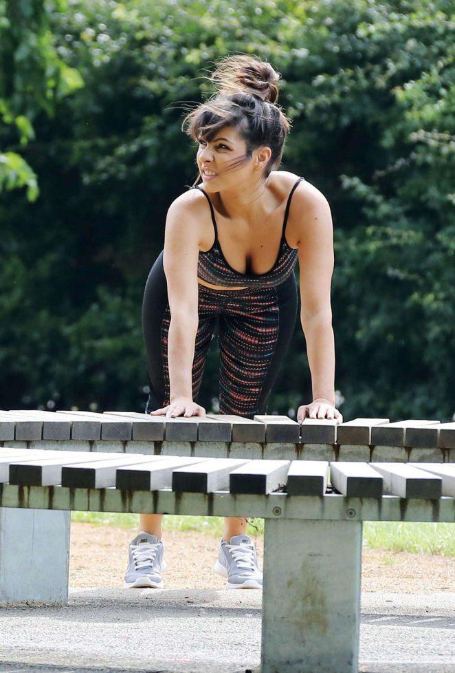 Roxanne Pallett - Fitness Training in Regents Park in London