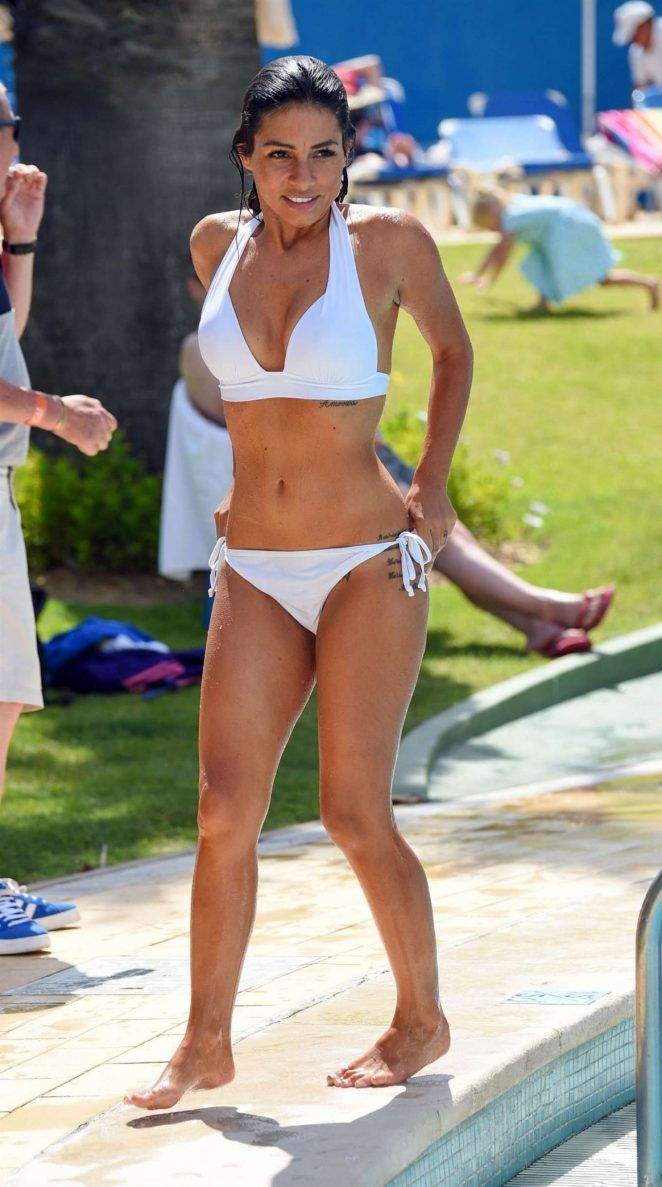 Roxanne Pallett in White Bikini in Portugal