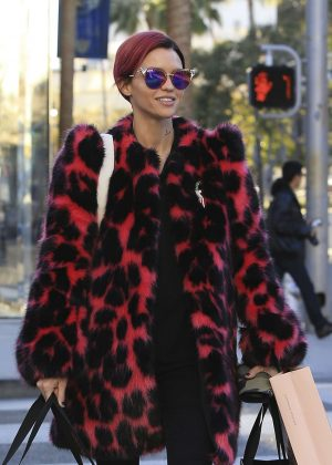 Ruby Rose in Fur Coat Shopping in Beverly Hills