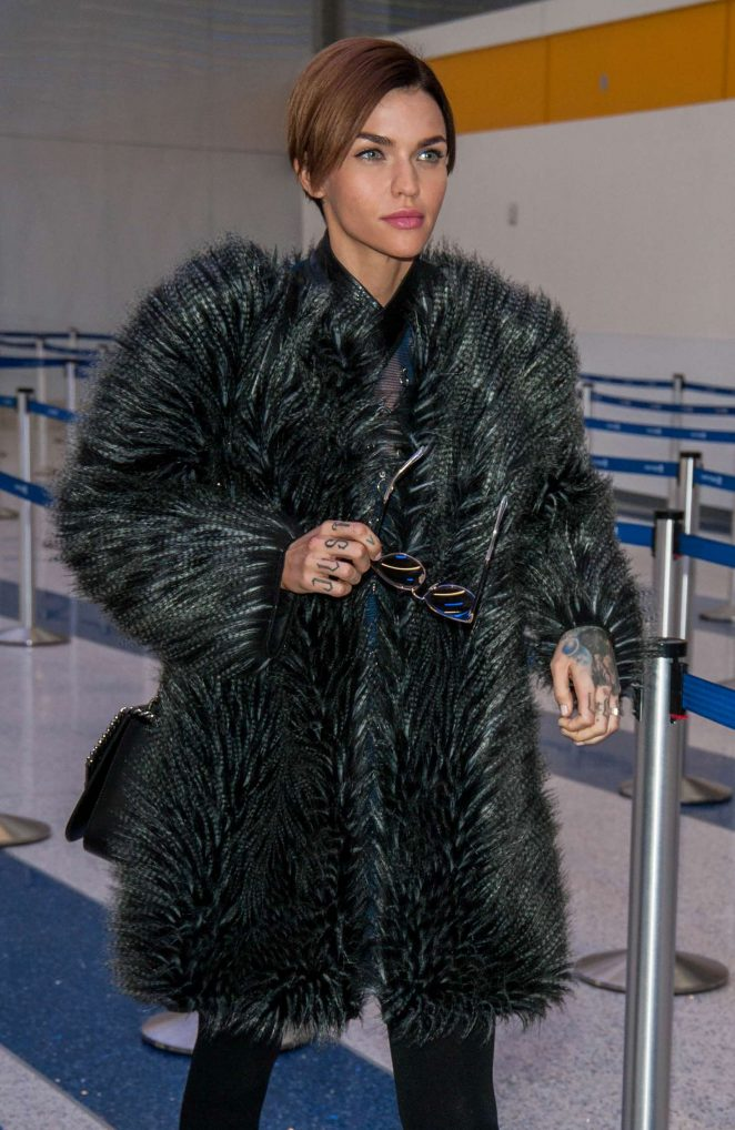 Ruby Rose in Fuzzy Coat at LAX airport in Los Angeles