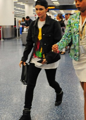 Ruby Rose in Tight Jeans at Airport in Miami