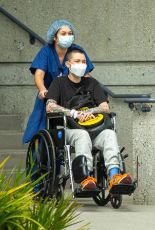 Ruby Rose - Seen in a wheelchair at the UCLA Health Marina del Rey Cancer Center