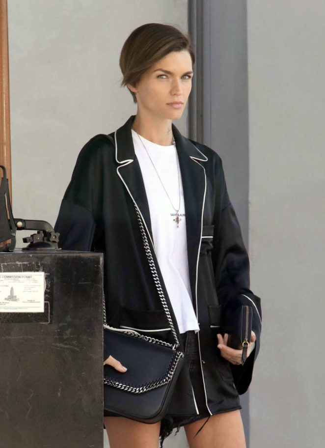 Ruby Rose waits her car in Hollywood