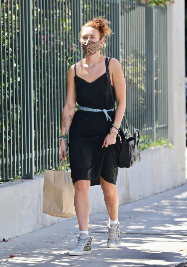 Rumer Willis - In a black dress while out in Los Feliz