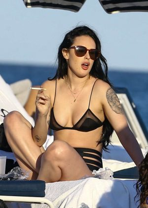 Rumer Willis in Black Bikini on the beach in Miami