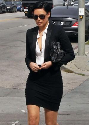 Rumer Willis in Black Mini Skirt out in Los Angeles