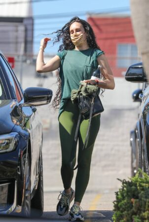 Rumer Willis - In green legginges out for a gym session in Santa Monica