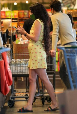 Rumer Willis - In yellow mini dress shopping at Erewhon Natural Markets in Los Angeles