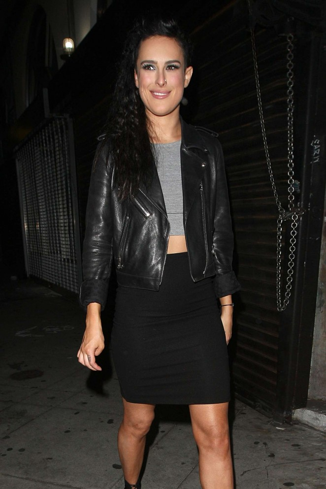 Rumer Willis in Mini Skirt - Night Out in Hollywood