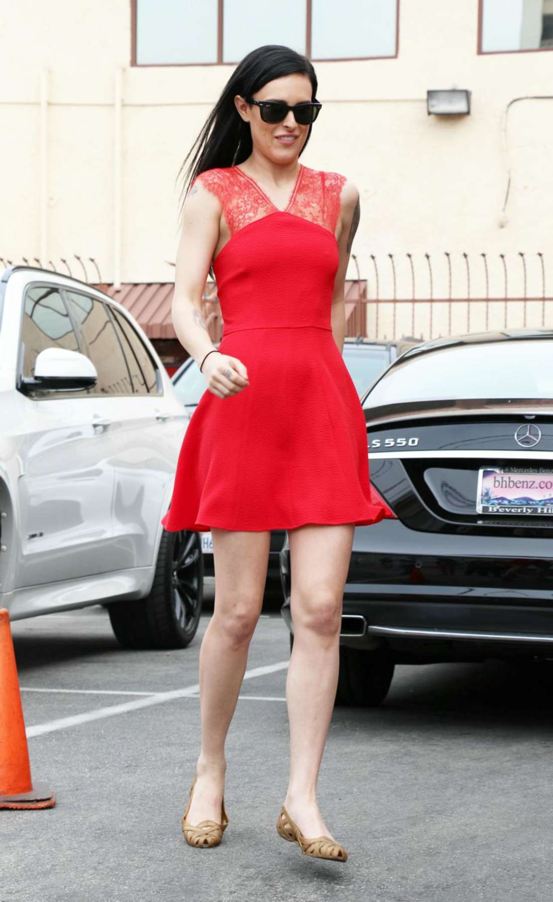 Rumer Willis in Red Dress out in Hollywood